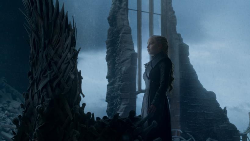 Daenerys nella sala del trono nell'episodio di GoT 8x06, The Iron Throne
