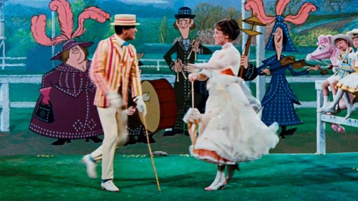 Mary Poppins e Bert danzano e cantano dentro un quadro
