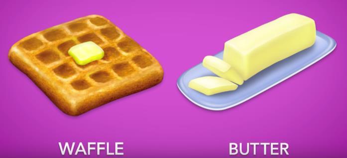 Le nuove emoji del waffle e del burro