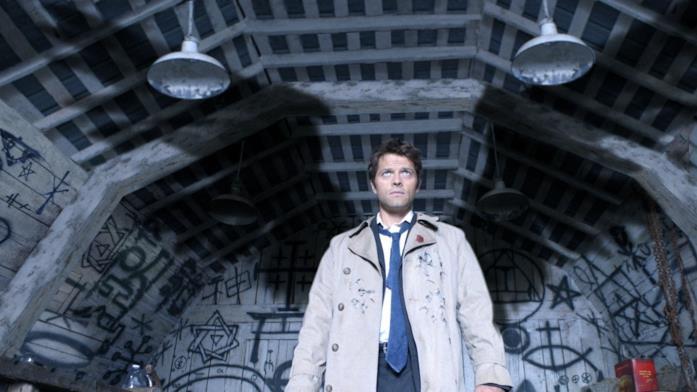 Misha Collins nella prima scena in cui appare Castiel