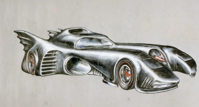 Un disegno dell'auto di Batman nel film di Tim Burton