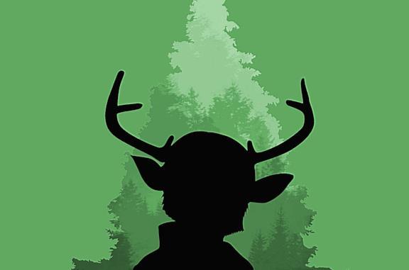 L'ombra del protagonista di Sweet Tooth su sfondo verde