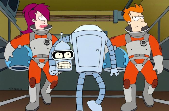 Leela, Bender e Fry in una scena del cartoon Futurama