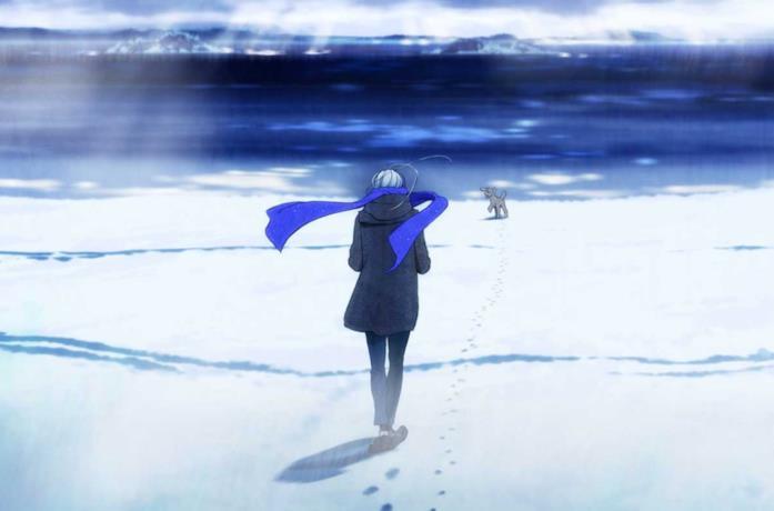 Viktor sulla spiaggia innevata con Makki