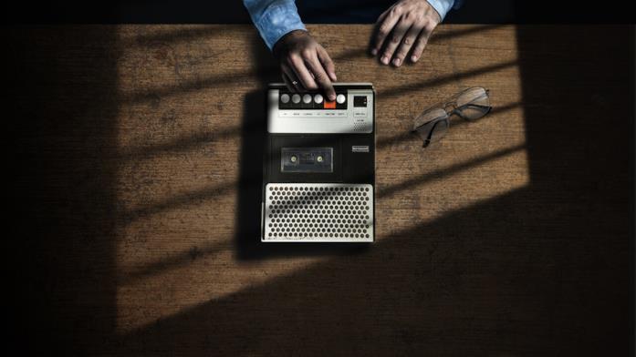 Un'immagine promozionale del documentario Memorie di un omicida: i nastri di Nilsen