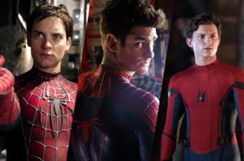 Da sinistra nei panni di Spider-Man: Tobey Maguire, Andrew Garfield e Tom Holland