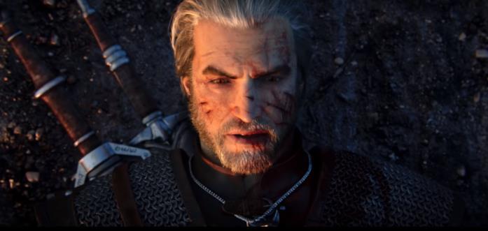 Geralt a terra, stremato dai suoi incarichi