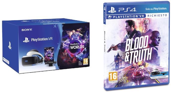 Playstation 4 - PS VR Mk4 + Camera + Gioco VR Worlds (Voucher) + Blood & Truth