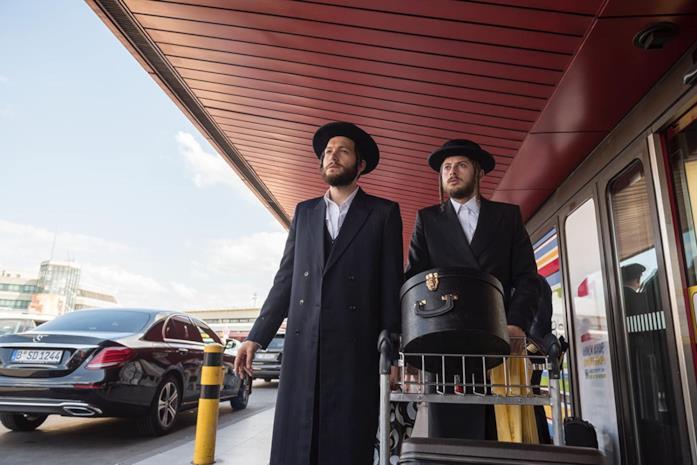 Jeff Wilbusch (Moishe) e Amit Rahav (Yanky) al loro arrivo a Berlino