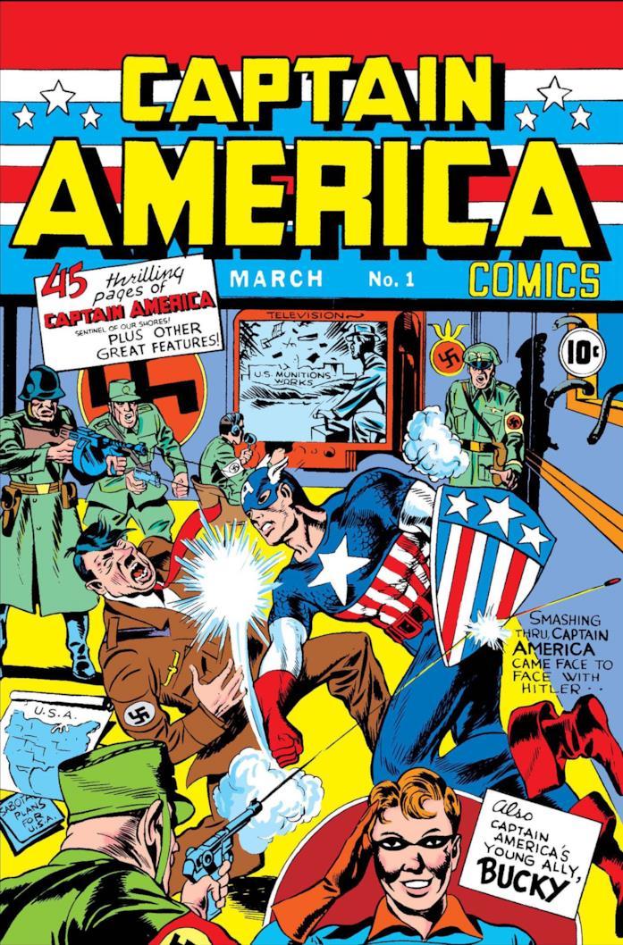 Steve Rogers dà un pugno a Hitler nella cover del fumetto numero 1