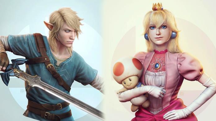 Link e Peach immaginati dall'artista Raf Grassetti