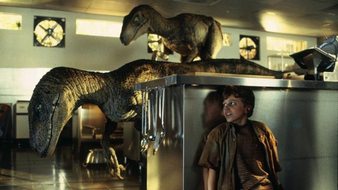 I velociraptor di Jurassic Park nella scena in cucina