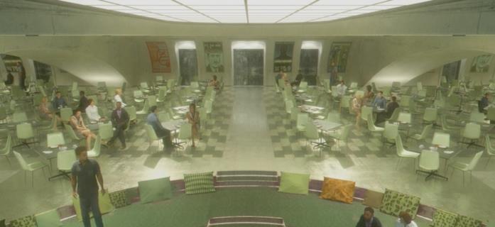 La sala comune della TVA disegnata