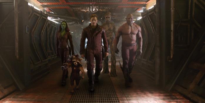 Zoe Saldana, Chris Pratt e Dave Bautista in Guardiani della Galassia