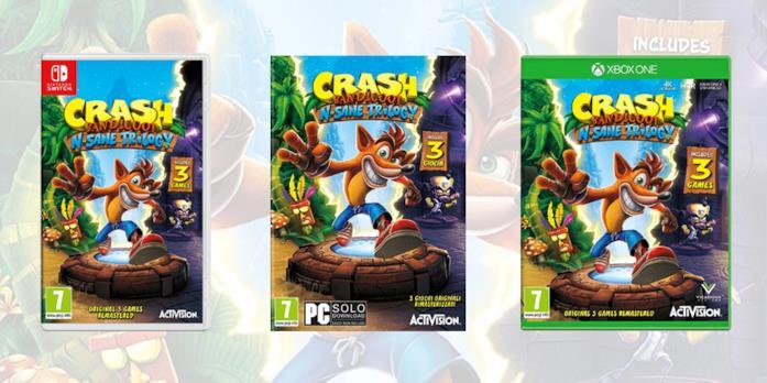 Le copertine delle edizioni di N. Sane Trilogy in uscita su Switch, PC e Xbox One