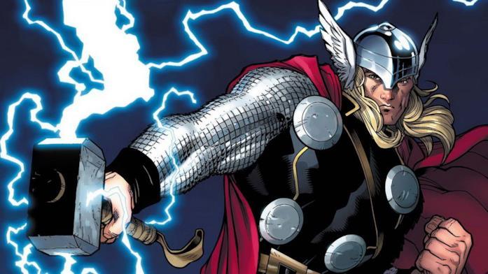 Un'illustrazione di Thor con tanto di capelli lunghi e Mjolnir