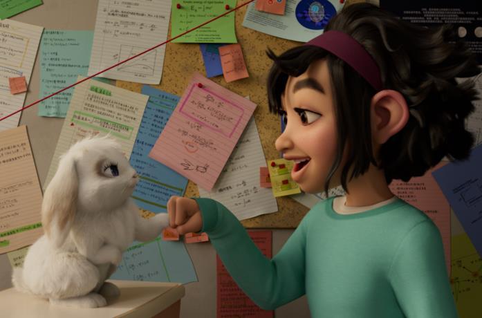 La protagonista di Over The Moon gioca col suo coniglietto