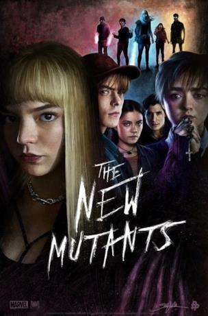 I nuovi mutanti in due versioni: mezzo busto e a figura intera sullo sfondo