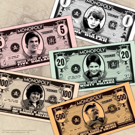 Banconote Monopoly con i volti dei Goonies