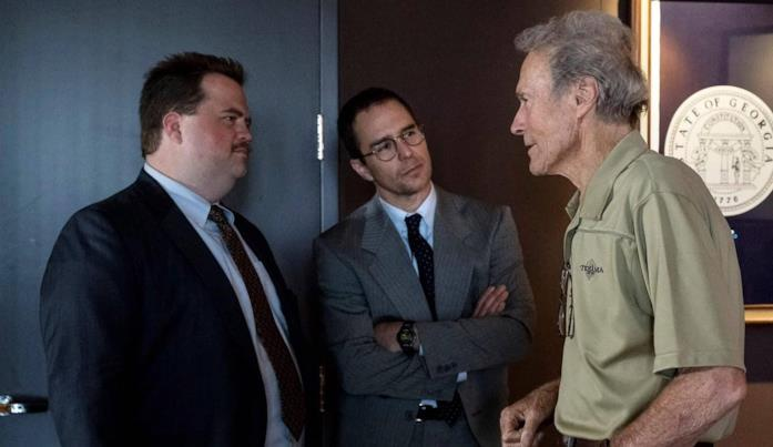 Clint Eastwood, Paul Walter Hauser e Sam Rockwell sul set