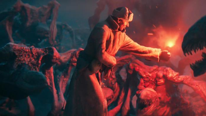 Un soldato combatte contro delle creature infernali