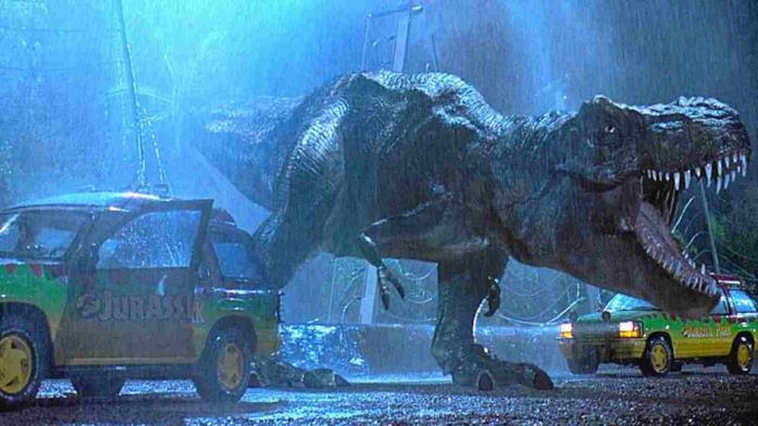 Il T-Rex nell'iconica scena dell'uscita dal recinto