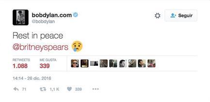 Bob Dylan, il tweet per la morte di Britney Spears