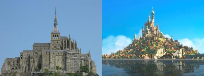 L'Abbazia di Mont Saint-Michel e il castello del film Rapunzel a confronto