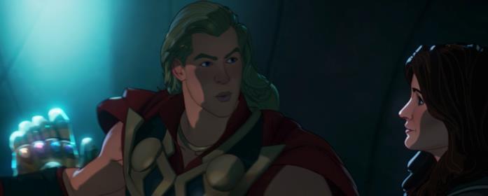 Thor con alle spalle il Guanto dell'Infinito