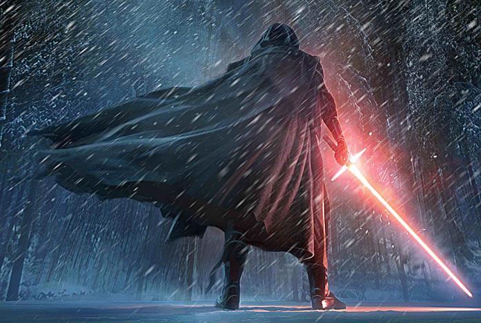 Kylo Ren con la spada laser rossa a croce