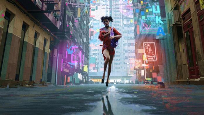 Una donna corre in una strada illuminata dalle insegne