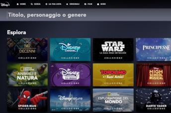 La schermata di ricerca contenuti su Disney+