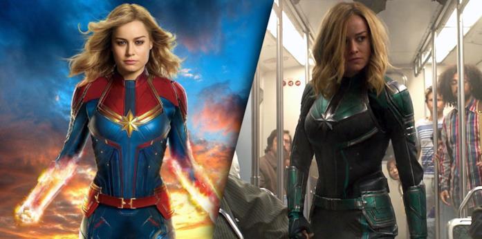 Captain Marvel: a sinistra il costume rosso e blu, a destra quello nero e verde