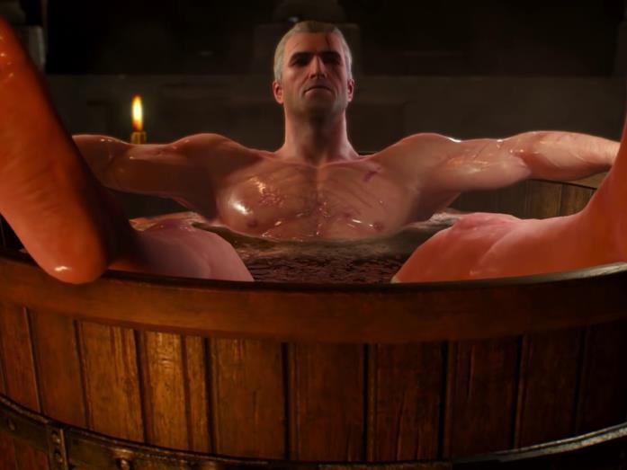 Geralt fa il bagno nel videogioco
