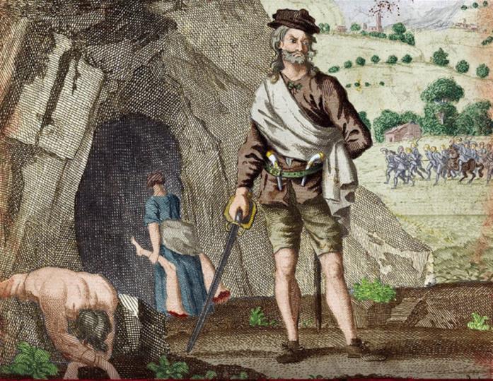 Stampa colorizzata che raffigura Sawney Bean e la moglie, XVIII secolo, autore sconosciuto