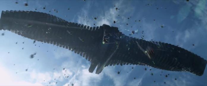L'astronave di Ronan attacca Xandar alla fine di Guardiani della Galassia