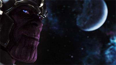 Thanos si mostra per la prima volta nel primo film dedicato agli Avengers
