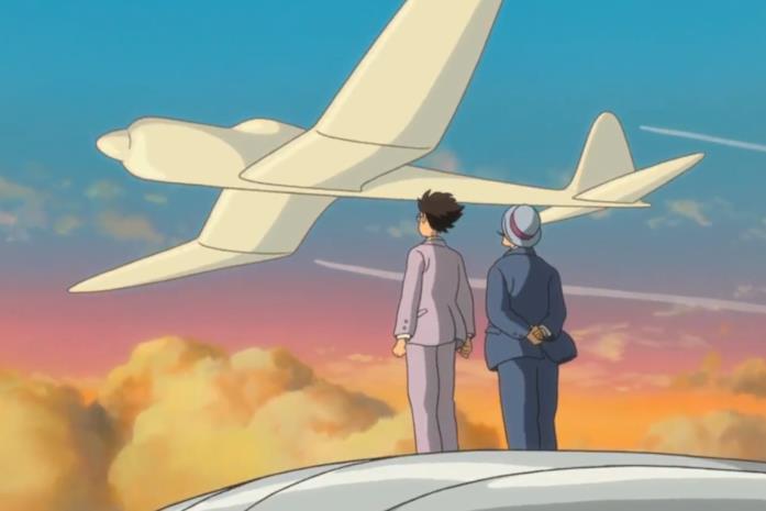 Jiro mostra il progetto incompleto del proprio aeroplano a Caproni in un sogno
