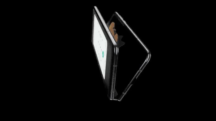 Una GIF mostra il passaggio dalla modalità smartphone a quella tablet del Galaxy Fold