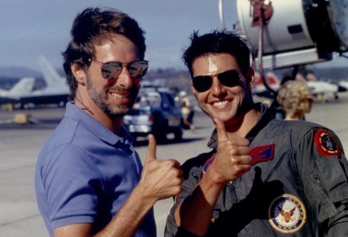 Tom Cruise e Jerry Bruckheimer sul set di Top Gun