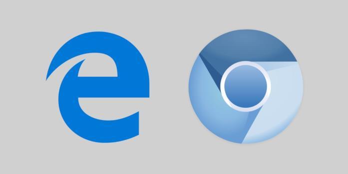 Loghi dei browser Microsoft Edge e Google Chrome