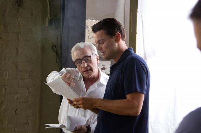 Martin Scorsese e Leonardo DiCaprio sul set di The Wolf of Wall Street