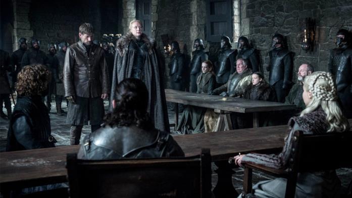 Brienne e Jaime davanti a Daenerys, Sansa e Jon