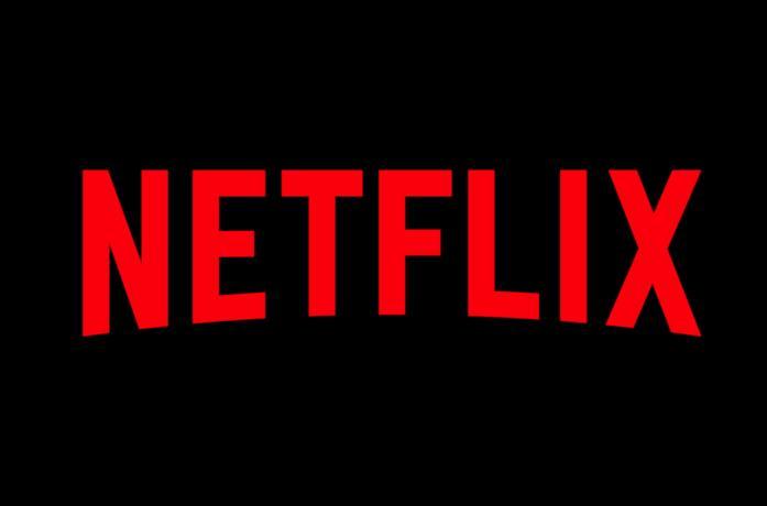 Il logo di Netflix rosso con uno sfondo nero