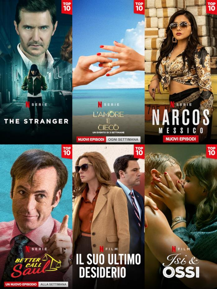 Le immagini verticali  della TOP10 delle produzioni originali Netflix