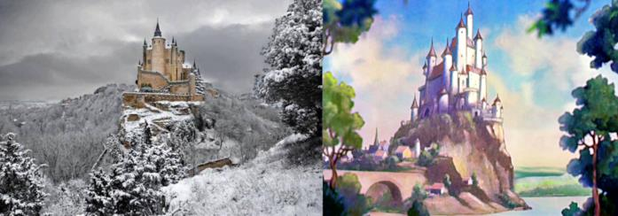L'Alcázar di Segovia e il castello del film Biancaneve e i sette nani a confronto