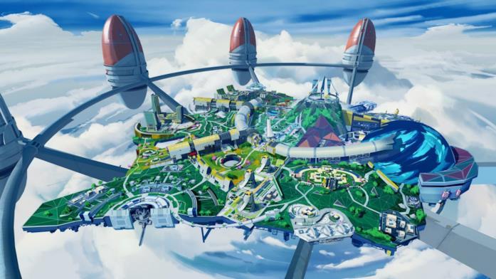 La città di Olympus vista dall'alto