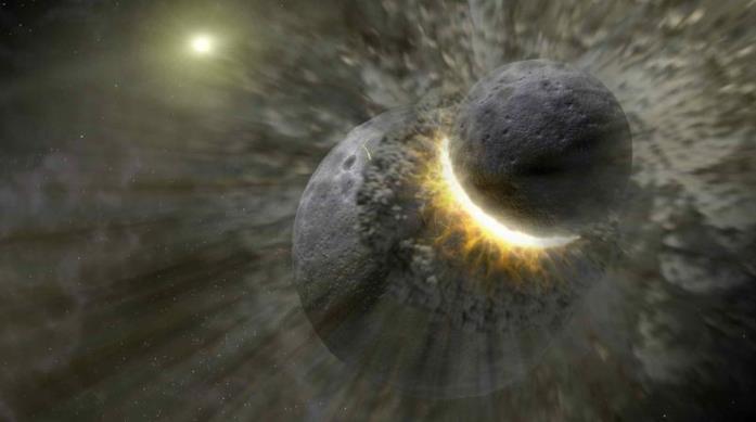 Una rappresentazione artistica della collisione fra la Terra e Theia