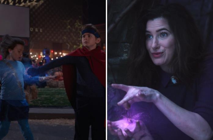 Billy colpisce Tommy, mentre a destra Agatha esercita la sua magia