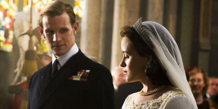 Matt Smith nella scena del matrimonio del Principe Filippo in The Crown